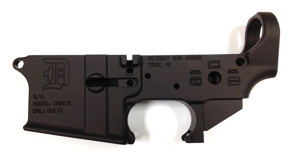 Detroit Gun Works Stripped Lower Receiver Detroit D Logo
