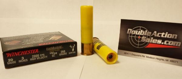 """Winchester 20 GA 3"""" 260gr Slug Partition Gold (SSP203)"""
