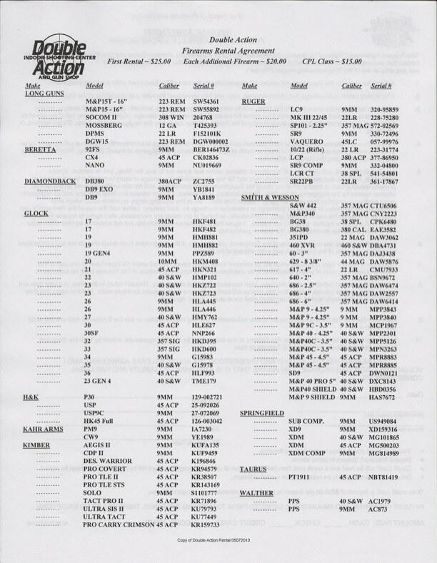 Double Action Gun Shop Rental Gun List