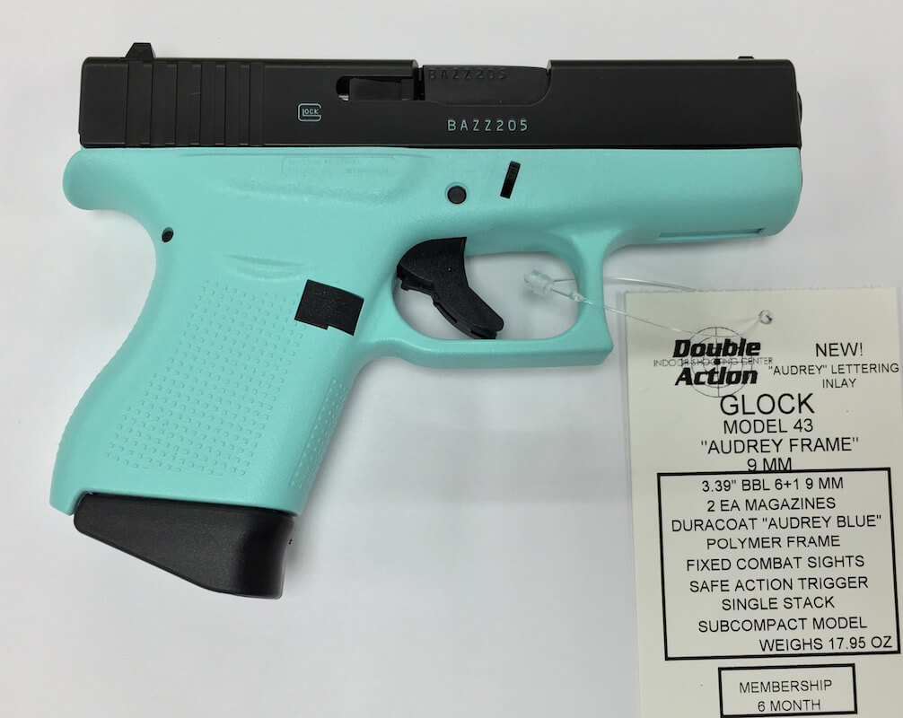Glock 43 Audrey Blue W Black Slide Double Action Indoor