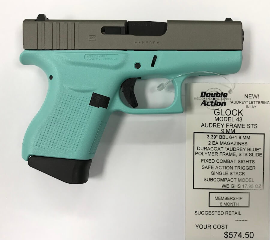 Glock 43 Audrey Blue W Sts Slide Double Action Indoor Shooting