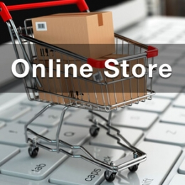 online gun store double action gun shop pic of shopping cart full of cardboard boxes with text online store overlaid